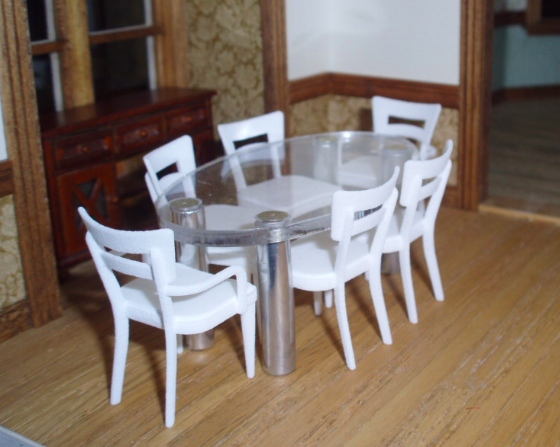 Half Scale Glass Top Table With 3d Printed Chairs The